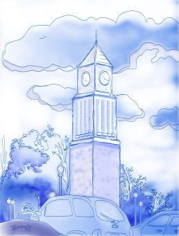 NC Clock Tower- Corel Painter Digital Ink