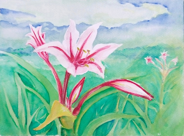 11x14 watercolor plein aire Easter Lilies