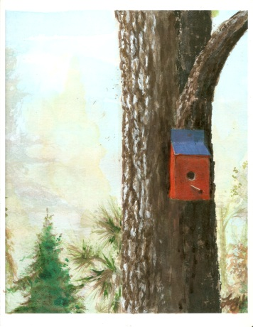 Red Birdhouse in Georgia - Watercolor and Acrylic , Variation of Gift Print to Fleur