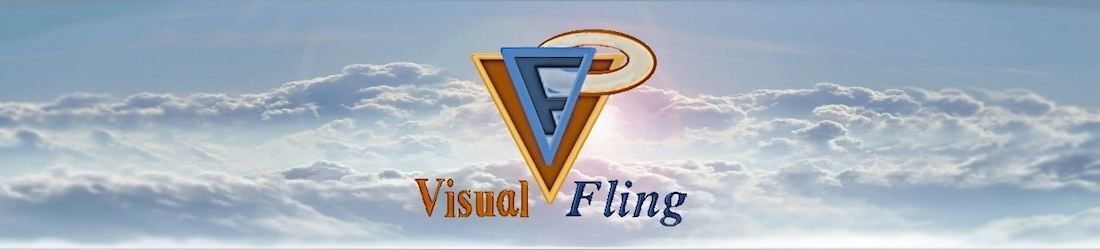 Visual Fling Logo in the sky with clouds with a bright center