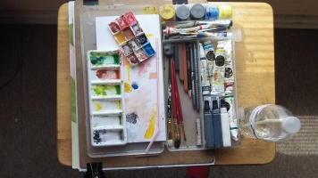 This view of my watercolor kit shows how easy it is for me to get what I need without unpacking the pencil box.
