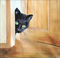 Someone has left a wooden interior door open a few inches. A black relatively young cat peeks his head out. His yellow-green eyes are glowing with curiosity.
