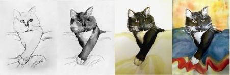 CatWakeUp series from sketch to first colors