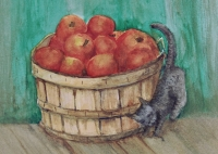 "Cat hunting mouse in barn near apple barrel. 5x7"" watercolor"