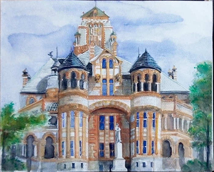 Finished version of Waxahachie Courthouse watercolor painting