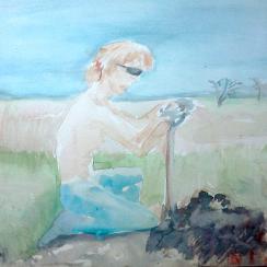 Farm Hand Digging Fencepost Holes Sketch