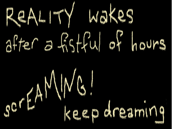 Reality Wakes/after a fistful of hours/screaming keep dreaming (Lucy's first haiku)