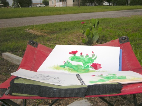 20140528 Prickly Pear Blossom and Paintings