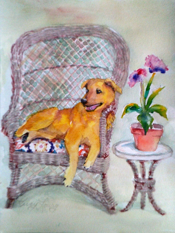 9x12 watercolor of Dog in Wicker Chair