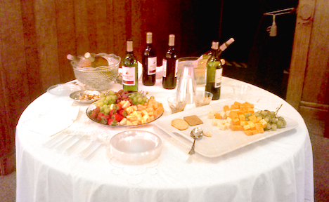 wine and cheese table