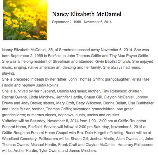 Nancy's Obituary 1959-2014