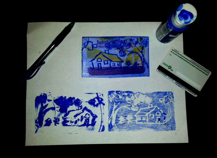 Introductory print techniques for children. Engraving recycled foam with an ink pen.