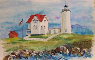 Watercolor painting of Nubble Lighthouse
