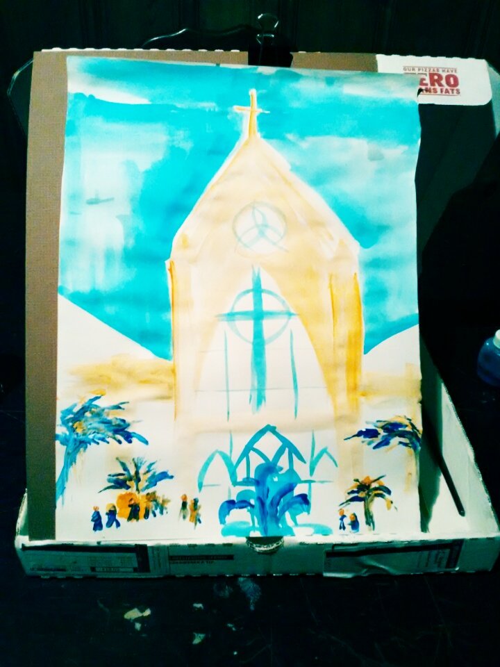 A rough sketch of our church in 3 posterpaint colors. Testing my pizza box easel.