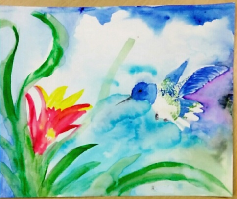 Watercolor hummingbird and flower by a third grade student.