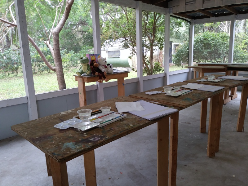 Photo of art tables with materials