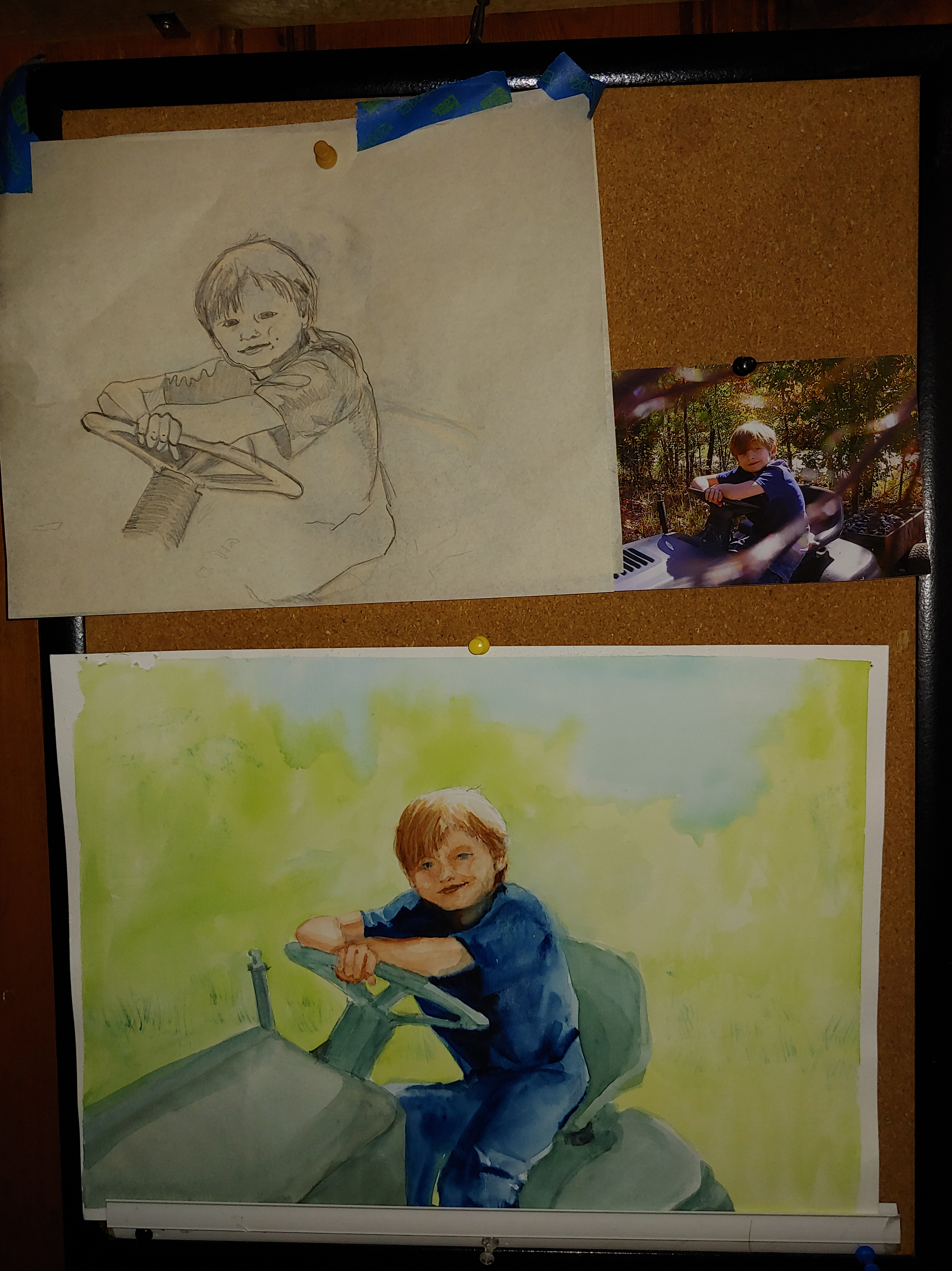 Watercolor painting: A boy on his grandpa's lawn tractor.   The portrait process from photo, sketches, memories, and the painting.