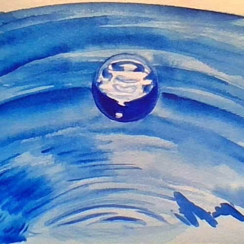 6x9 inch Watercolor painting of a water droplet based on a photo by Rony Michaud at Pixabay.com on Aquabee watercolor 140 lb paper by Bee.