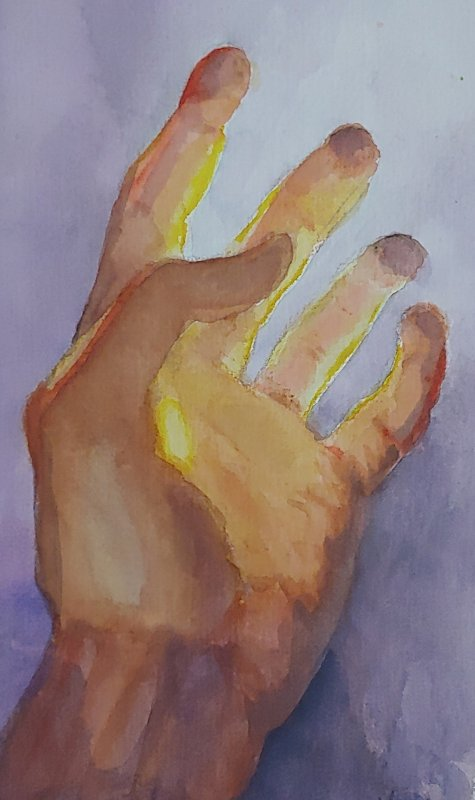 Watercolor painting by Lucy J Hanson of a hand reaching up toward the light based on a story Crystal C shared about her young child explaining a funeral to his preschool age sister.